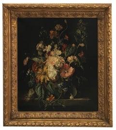 FLOWERS - Dutch Flemish School -  Italian Still Life Oil on canvas  Painting