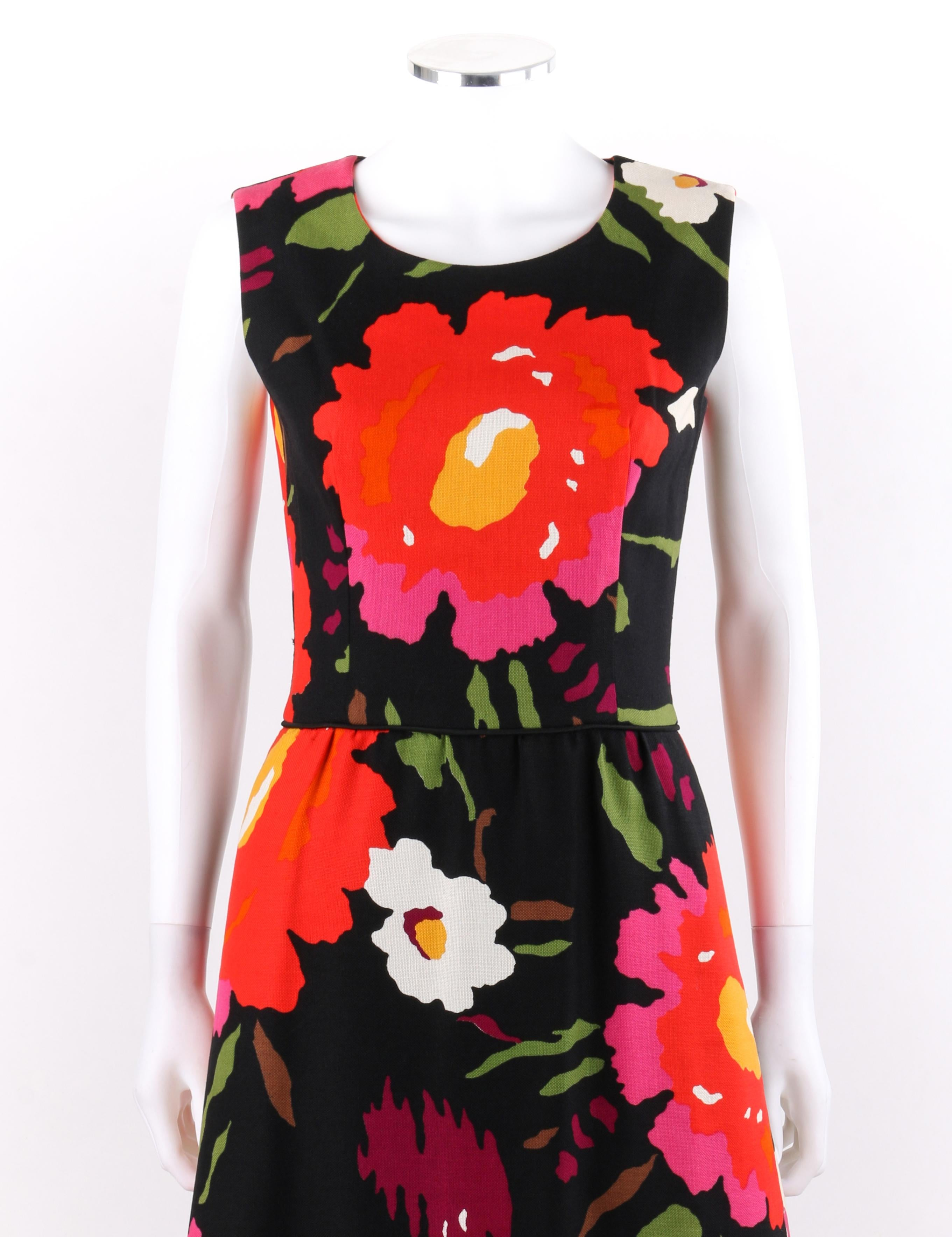 86ac85d27061b ROBES H.B.Z. Switzerland for Marshall Field's and Co. c.1960s Floral Shift  Dress For Sale at 1stdibs