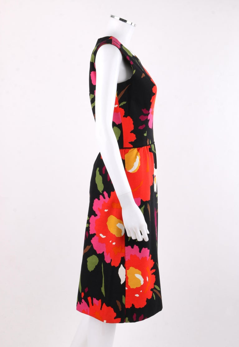 cb0eb907bccc7 ROBES H.B.Z. Switzerland for Marshall Field's & Co. c.1960s Floral Shift  Dress In