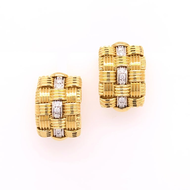 Modern Robeto Coin Yellow Gold Diamond Earrings For Sale