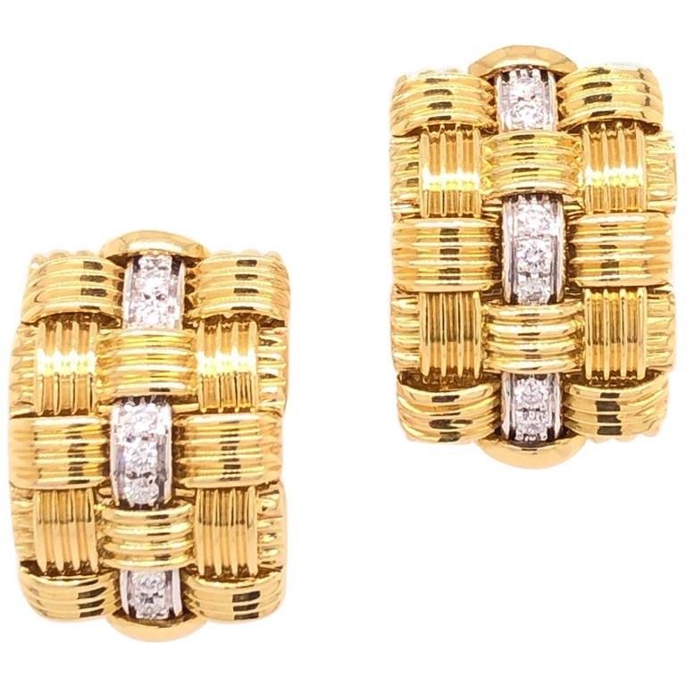 Robeto Coin Yellow Gold Diamond Earrings For Sale