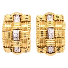 Robeto Coin Yellow Gold Diamond Earrings