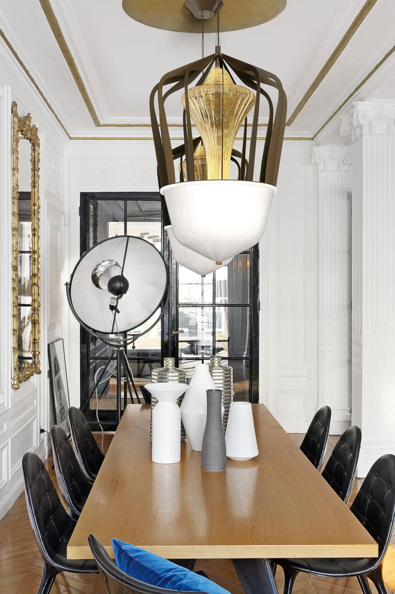 Robin 7280 Suspension Lamp in Glass with Bronze Finish, by Barovier&Toso For Sale 5