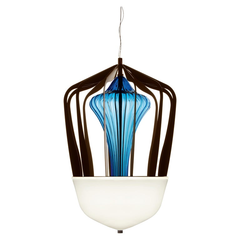 For Sale: Blue (Bluastro_LQ) Robin 7280 Suspension Lamp in Glass with Bronze Finish, by Barovier&Toso