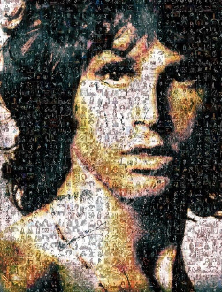 Robin Austin Abstract Photograph - Jim Morrison ''Light My Fire'', Photomosaic, Acrylic