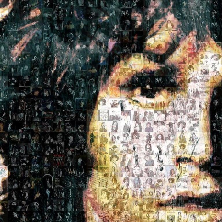 Jim Morrison ''Light My Fire'', Photomosaic, Acrylic - Photograph by Robin Austin
