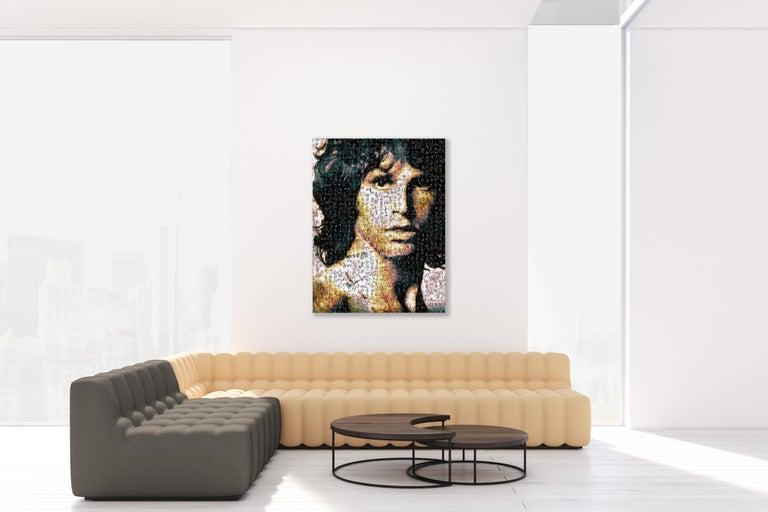 Jim Morrison ''Light My Fire'', Photomosaic, Acrylic - Black Abstract Photograph by Robin Austin