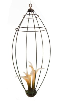 """""""Papiculate tri-stigmata"""" - suspended cage sculpture in glass and metal"""