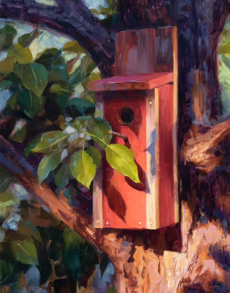 """Robin Cole Still-Life Painting - """"Home for the Chickadees"""" Oil Painting"""