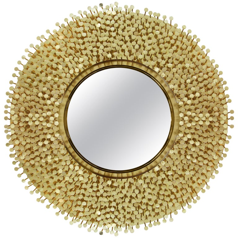 Robin Mirror in Polished Brass For Sale