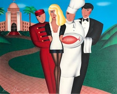 AT YOUR SERVICE Signed Lithograph, Hotel Hospitality, Waiter, Chef