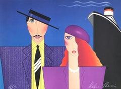 BON VOYAGE Signed Lithograph, Couple Portrait, Art Deco, Cruise Ship Travel