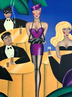 CIGARS, CIGARETTES Signed Lithograph, Cigarette Girl, Cigars, Cocktails