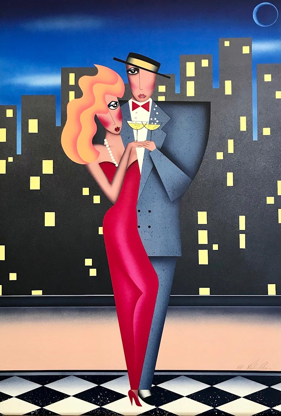 CITY LIGHTS Signed Lithograph, City Couple Portrait, Checkered Floor, Champagne