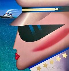 COMMODORE Signed Lithograph, Modern Portrait Head, Dark Sunglasses, Gold Stars