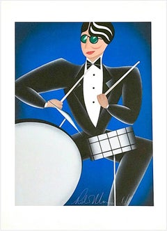 COOL BLUE Signed Lithograph, Modern Art Deco Portrait, Drums Jazz Music