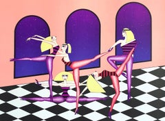 DRESS REHEARSAL Signed Lithograph, Blonde Dancers, Black & White Checkered Tiles