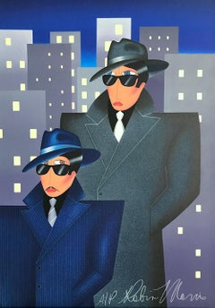 GANGSTERS Signed Lithograph, Comic Portrait, Dark Sunglasses, Detective Overcoat