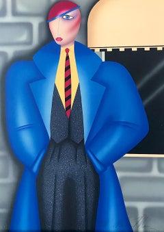 HER NEW BLUE COAT, Signed Original Lithograph, Androgynous Portrait, Art Deco
