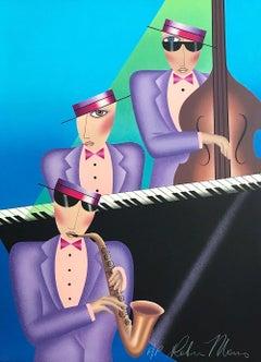 JAZZ TRIO Signed Lithograph, Music Portrait, Blue, Pink, Lavender, Black