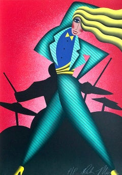 JUMPIN' JIVE Signed Lithograph, Dance Portrait Drummer, Red Green Yellow Black