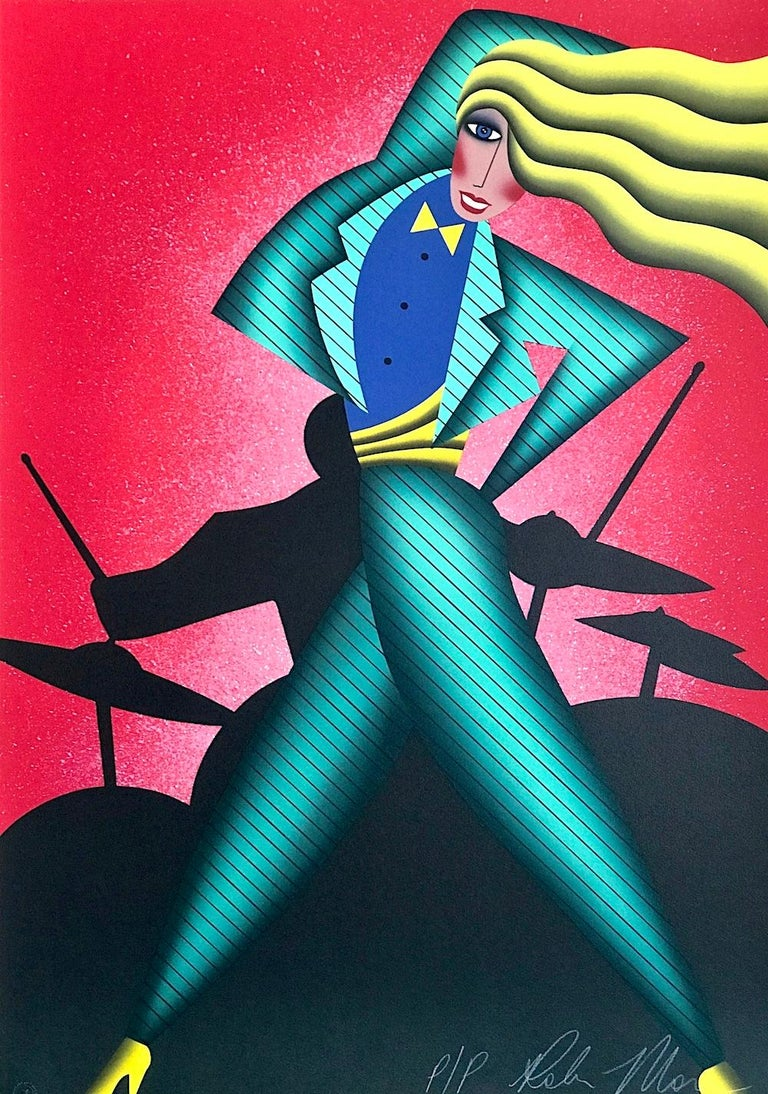 Robin Morris Portrait Print - JUMPIN' JIVE Signed Lithograph, Dance Portrait Drummer, Red Green Yellow Black