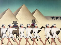 LAND OF THE PHAROAHS Signed Lithograph, Egyptian Pyramids, Camels, Safari Hats