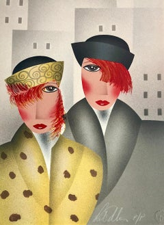 MARY and EDDIE Signed Lithograph, Deco Style Portrait, Red Hair, Hats
