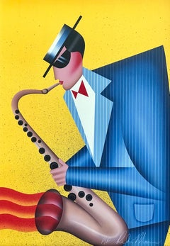 MAX THE SAX Signed Lithograph, Male Saxophone Player, Bright Yellow, Blue, Red
