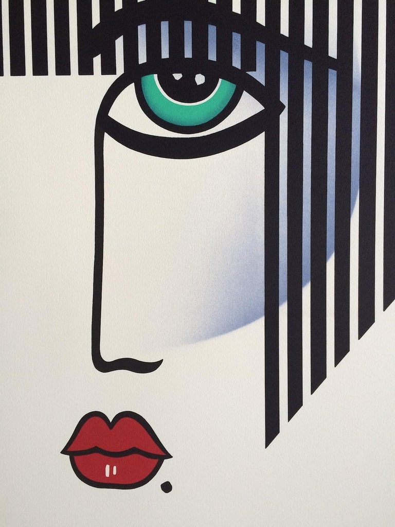 NEW DECO Signed Lithograph, Modern Portrait Bold Stripe Hair, Red Lips, Art Deco - Print by Robin Morris