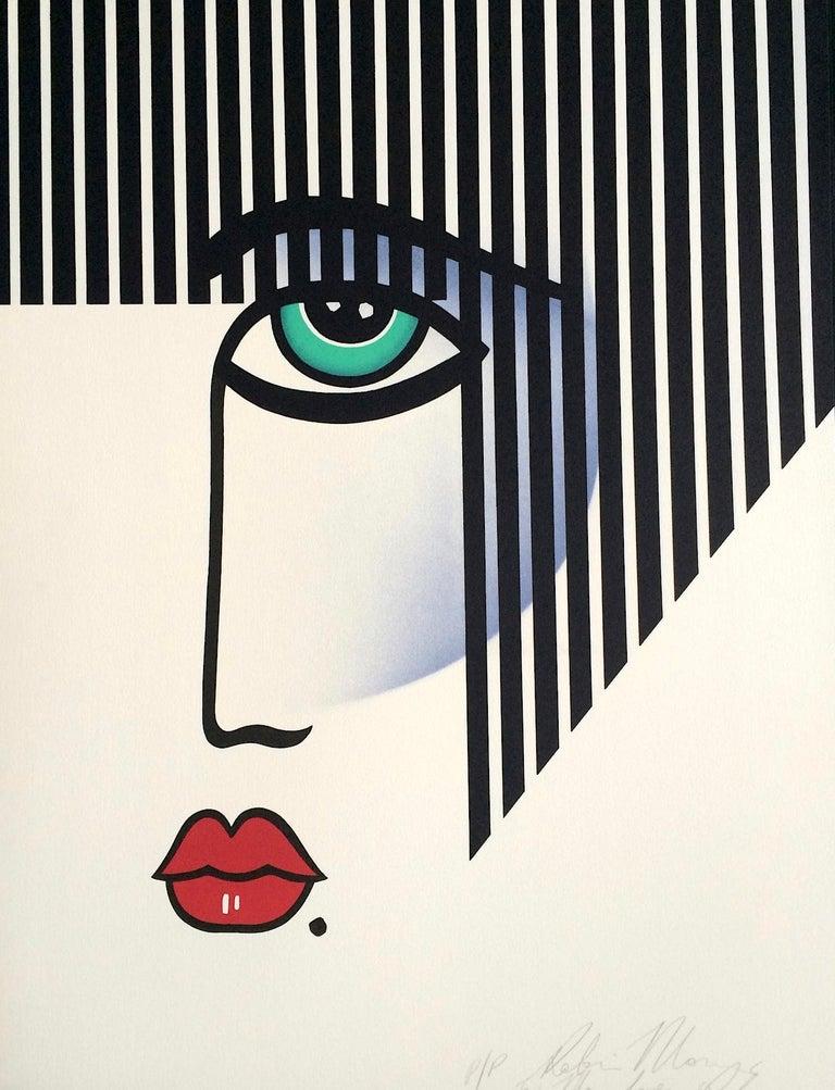 Robin Morris Print - NEW DECO Signed Lithograph, Modern Portrait Bold Stripe Hair, Red Lips, Art Deco