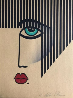 NEW DECO Signed Lithograph, Modern Face Portrait on Brown Paper, Black Stripes