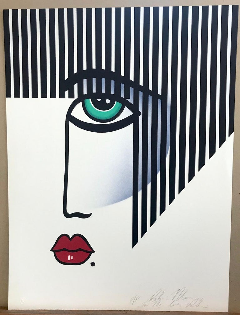NEW DECO Signed Lithograph, Modern Portrait Bold Stripe Hair, Red Lips, Art Deco 1