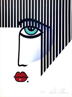 NEW DECO Signed Lithograph, Modern Portrait Bold Stripe Hair, Red Lips, Art Deco