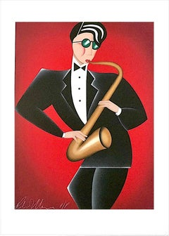 RED HOT Signed Lithograph, Modern Art Deco Portrait, Saxophone Player Jazz Music