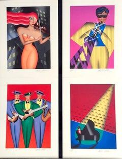RHYTHM & BLUES SUITE, Set 4 Signed Lithographs, Color Portraits, Art Deco, Music
