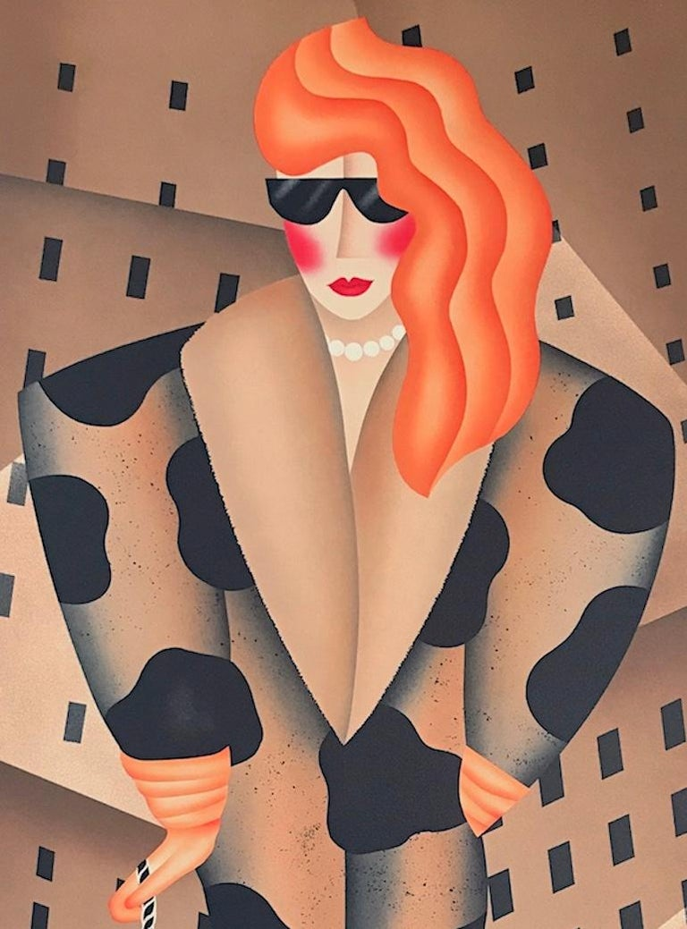 SLAVE TO FASHION, Signed Lithograph, City Woman Walking Dog, Animal Print Coat - Brown Portrait Print by Robin Morris