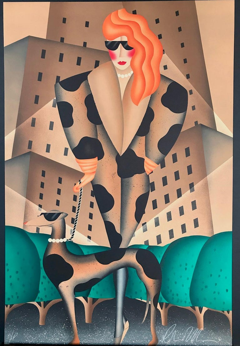 SLAVE TO FASHION, Signed Lithograph, City Woman Walking Dog, Animal Print Coat For Sale 4