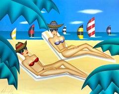 SUNBATHERS Signed Lithograph, Beach, Lounge Chair, Bikinis, Sunglasses, Sailboat