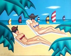 SUNBATHERS Signed Lithograph, Day at the Beach, Bikinis, Sunglasses, Sailboat