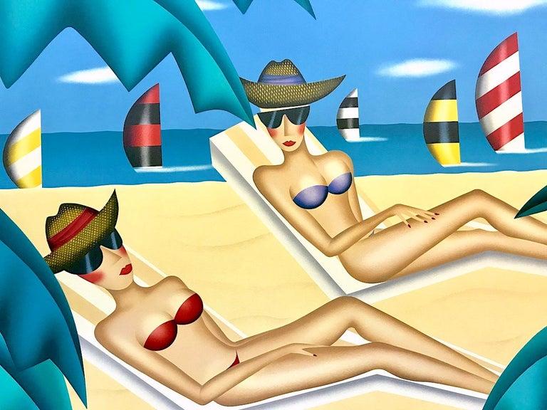 SUNBATHERS Signed Lithograph, Beach Scene, Bikinis, Sunglasses, Sailboats - Print by Robin Morris