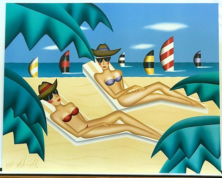 SUNBATHERS by the woman artist Robin Morris, is an original limited edition lithograph printed using hand lithography techniques on archival Arches paper, 100% acid free. SUNBATHERS depicts a two female sunbathers sitting in their lounge chairs on a