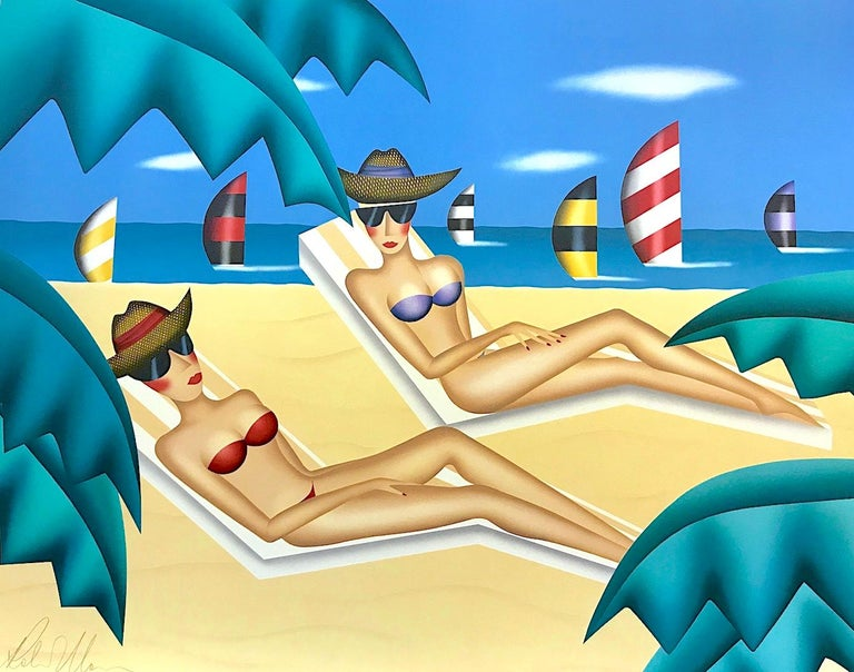 Robin Morris Portrait Print - SUNBATHERS Signed Lithograph, Beach Scene, Bikinis, Sunglasses, Sailboats