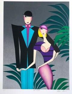 THE COUPLE Signed Lithograph, Art Deco Couple Portrait, 1920's Flapper Fashion