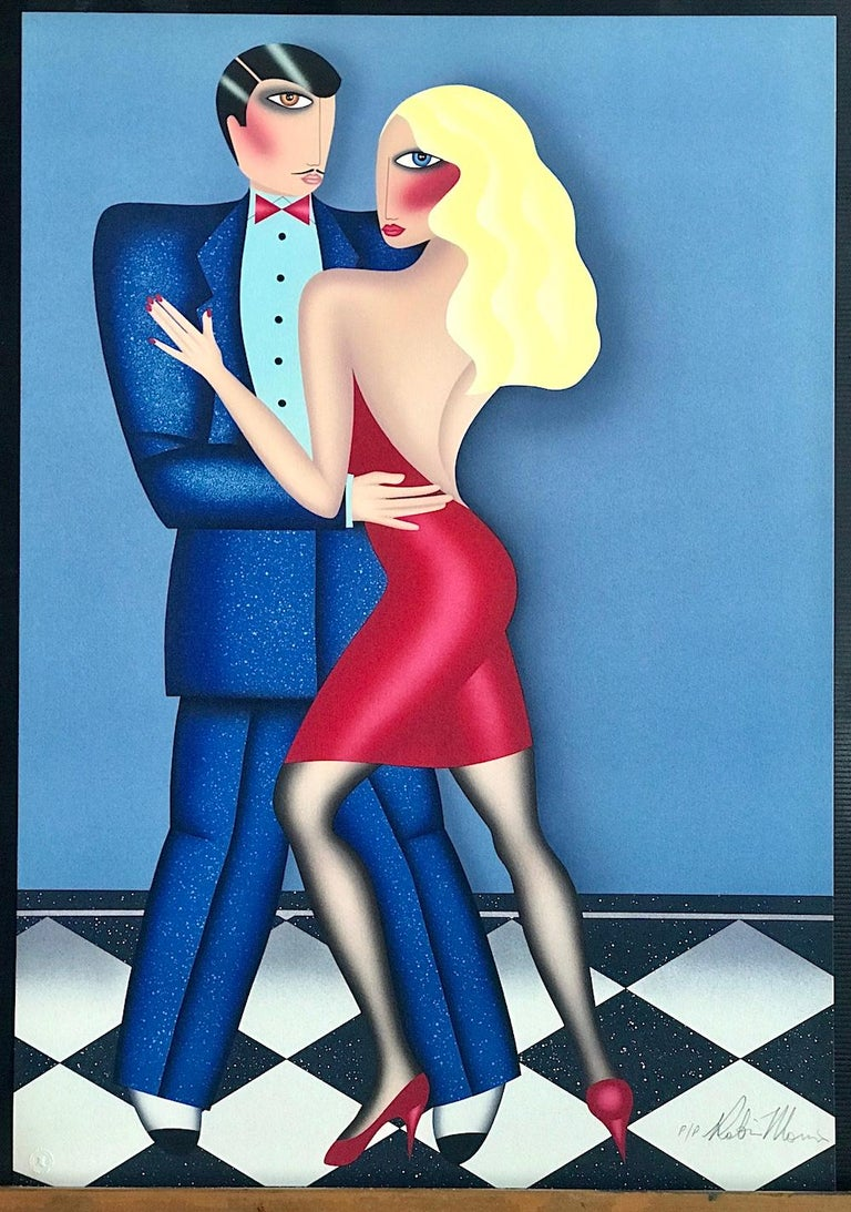 THE DANCE Signed Lithograph, Couple Dancing Long Blonde Hair Red Dress Blue Suit For Sale 1