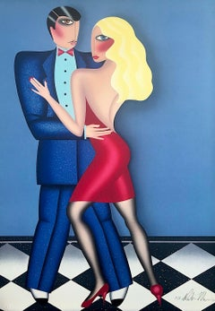 THE DANCE Signed Lithograph, Couple Dancing Long Blonde Hair Red Dress Blue Suit