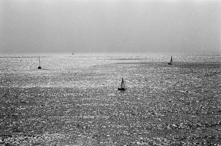 Robin Rice Black and White Photograph - Sailboats Dartmouth, English Channel, Devon, UK. 2014