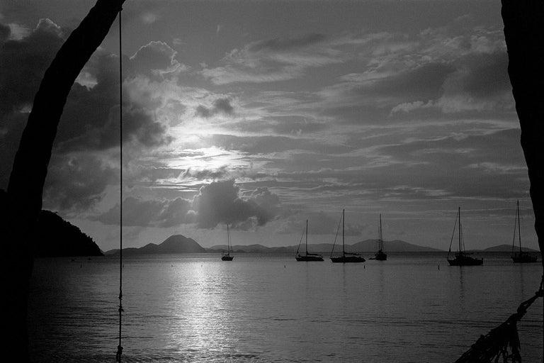 Robin Rice Black and White Photograph - Sunset Caribbean, St. Thomas, USVI, 1989