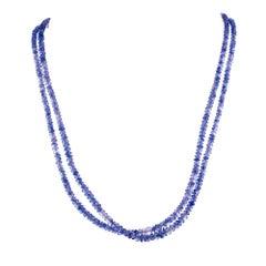 Robin Rotenier 110.00 Carat Blue Sapphire Bead Yellow Gold Multi-Strand Necklace