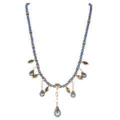 Robin Rotenier 2.40 Carat Sapphire Black South Sea Pearl Yellow Gold Necklace
